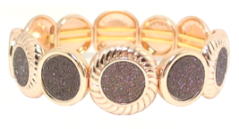 Monet Jewelry Womens Rose Tone & Sparkling Brown Stretch Bracelet | 306 - $27.99