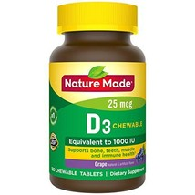 Nature Made Vitamin D3 1000 IU 25mcg Chewable Tablets, 120 Count for Bone Health