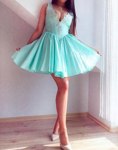 v neck lace short prom dresses, cute homecoming dresses,BD17042412