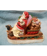 VINTAGE CERAMIC SANTA CLAUS IN SLEIGH HAND PAINTED NEW #22709 - $34.95