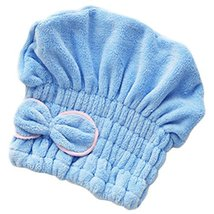 Microfiber Bath Towel Hair Dry Hat Quick Drying Bath Cap For Short Hair(Blue)
