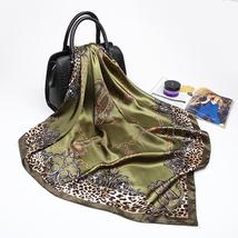 Fashion Women Scarf Luxury Brand Pink Leopard Hijab Silky Satin Shawl Scarfs Fou image 4