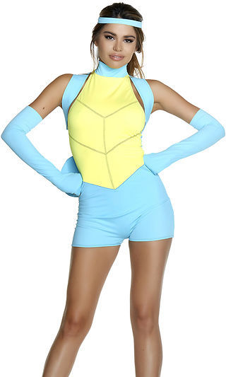 Sexy Forplay Caught Up Pokemon Cartoon Romper Squirtle Costume - Women-7378