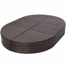 """vidaXL Sunlounger with Cushion Poly Rattan 78.7"""" Lounge Beds Seat Black/Brown image 7"""