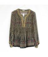 Multicolor paisley 100% silk sheer JOIE peasant blouse XS - $54.99