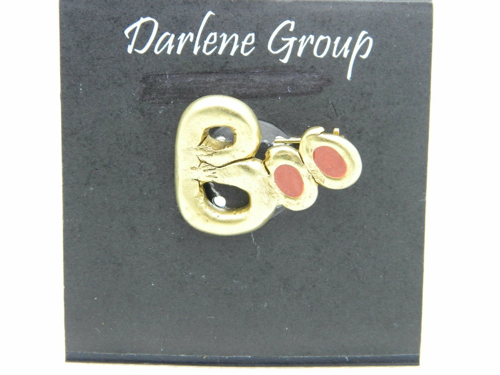 Vintage Halloween BOO Gold Tone Enamel Darlene Group Pin Brooch