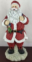 "Santa Claus Figurine Lightweight Paper Mache Bisque Type Material 17"" Tall - $14.03"
