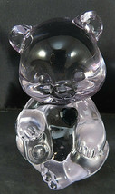FENTON CRYSTAL BIRTHSTONE TEDDY BEAR FIGURINE Handmade Clear GLASS Blue ... - $35.00