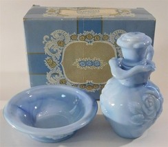 Avon Victoriana Blue Glass Pitcher and Bowl Bubble Bath Box Empty 1978 V... - $24.75