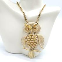 Crested Owl Pendant Chain Necklace White Enamel Bohemian Boho Topaz Vintage - $24.74
