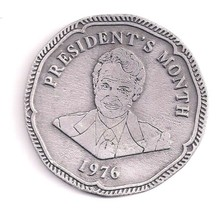 Pewter Paperweight Coin Presidents Month 1976 Embossed Estate - $7.99