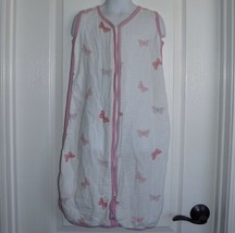 Aden + Anais Size Medium 6-12 Months Muslin Wearable Blanket Pink Butterfly - $14.01