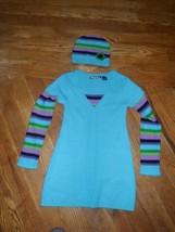 Girls Planet Gold Sweater Dress/ tunicWith knit hat.aqua w stripes. Size... - $11.03