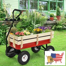 Outdoor Pulling Garden Cart Wagon with Wood Railing - £122.73 GBP