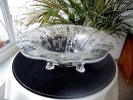 Heisey #1509  3 Dolphin Footed Bowl With #504 Tearose Etch 1940 EXTREMEL... - $49.49