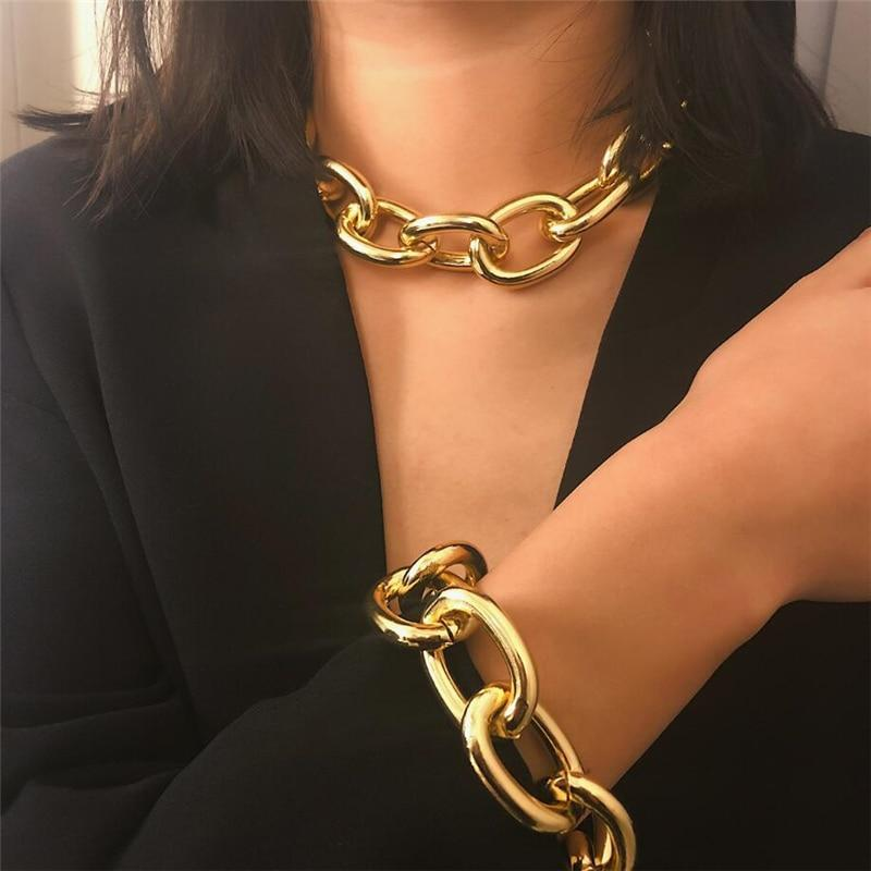 Avy miami cuban link chain bracelet necklace set gold silver choker hip hop women punk necklaces