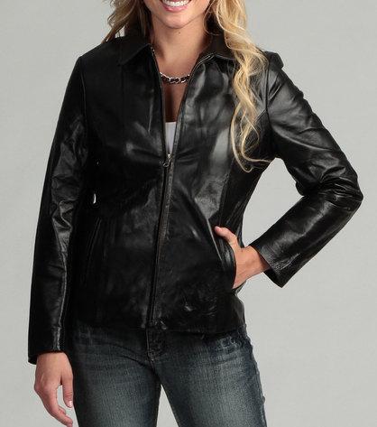 Handmade women black leather jacket, women biker leather jacket