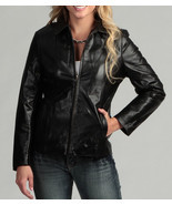 Handmade women black leather jacket, women biker leather jacket - $149.99+