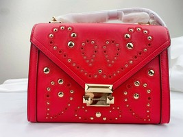 NWT Michael Kors Whitney Large Leather Shoulder Crossbody Bright Red 30T... - $193.95