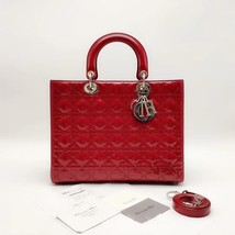 AUTH Christian Dior Lady Dior Large Red Patent Leather Cannage Shoulder ... - $2,399.99