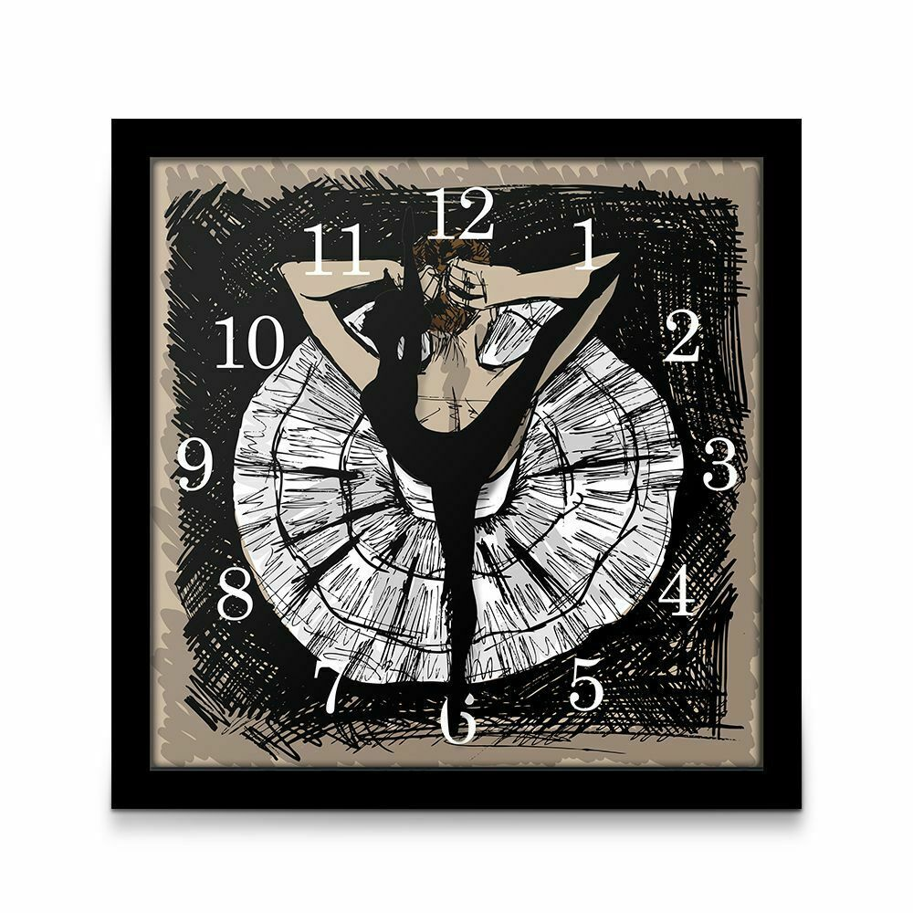 Primary image for Unique Ballerina Dancing Arrow Wall Table Clock Framed Graphic Art Ballet Decor