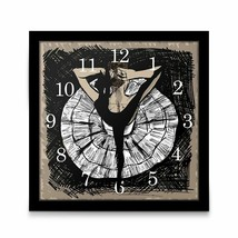 Unique Ballerina Dancing Arrow Wall Table Clock Framed Graphic Art Balle... - $63.13
