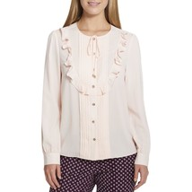 Tommy Hilfiger Womens Sheer Bib-Front Ruffled Blouse Top Powder Pink $79... - $22.76