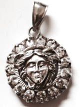 Vintage Sterling Pendant Unusual Pushed Out Fairy Face Surrounded By Rhi... - $52.50