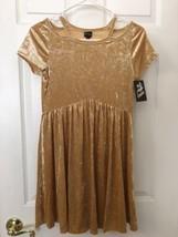 Art Class Girl's Golden Crushed Velveteen Holiday Dress Size 10 12 NWT    - $17.81