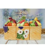 GOURMET Kitchen Canisters Set Harvest Theme, Fruit Berries Ceramic Baskets - $189.00