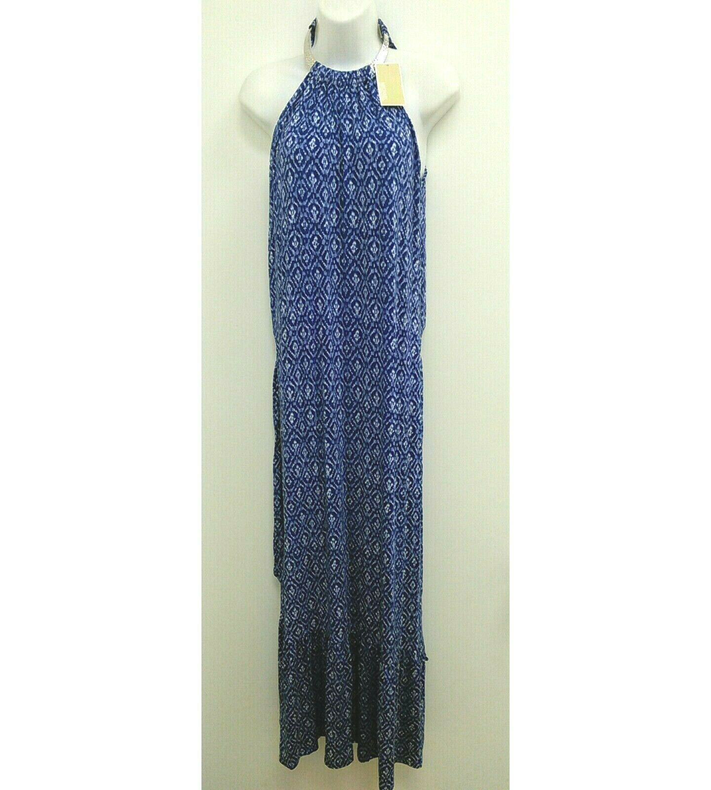 Primary image for NWT Michael Kors Womens Sz Medium Dress Maxi Blue Choker Neck Sleeveless B350