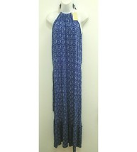 NWT Michael Kors Womens Sz Medium Dress Maxi Blue Choker Neck Sleeveless... - $89.99