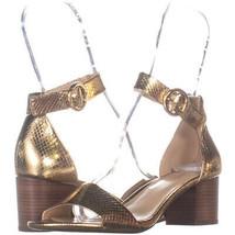 Michael Kors Ankle Strap Block Heel Sandals 137, Gold Snake, 6.5 US / 36... - $48.95
