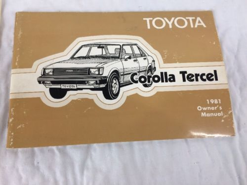 1981 Toyota Corolla Tercel Owners Manual And Owners Guide