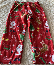 Childrens Place Boys Red Santa Reindeer Christmas Fleece Pajama Pants 4T - $6.43