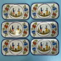 6 Massilly France Faienceries De Quimper HB Henriot Metal/Tin/Snack Tray... - $29.69