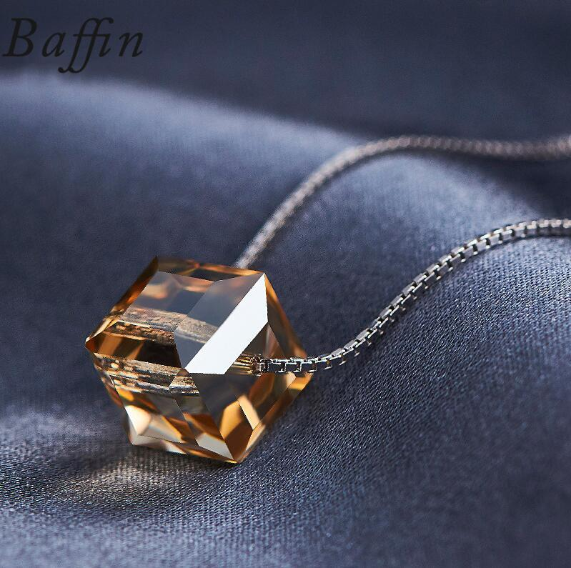 Rom swarovski cube beads necklace pendants 925 sterling silver chain necklaces for women wedding