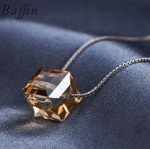 BAFFIN Crystals From SWAROVSKI Cube Beads Necklace Pendants 925 Sterling... - $16.81