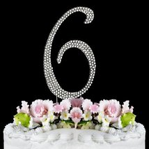 Rhinestone Cake Topper Number 6 - $10.66
