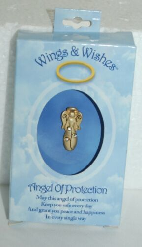 DM Merchandising Wings Wishes Protection Angel Gold Colored With Clear Stones