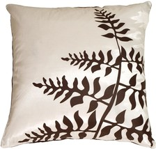 Pillow Decor - White with Brown Bold Fern Throw Pillow - £26.67 GBP