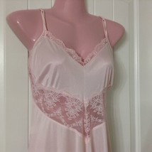 Vtg J C Penny Nightgown Women's M Pink Long Front Slit Nylon Floral Lace - $28.70