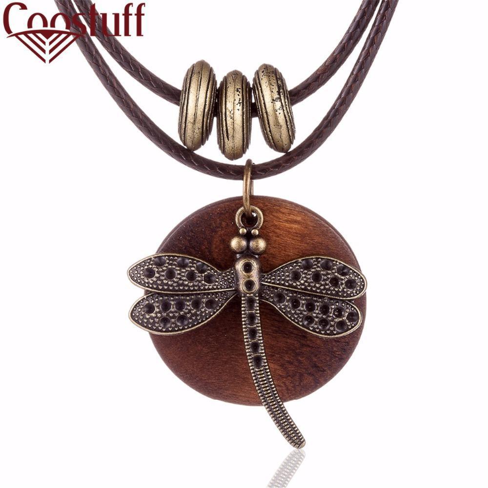 COOSTUFF Vintage Dragonfly Wooden Handmade Necklace / Pendant - Ladies / Women's