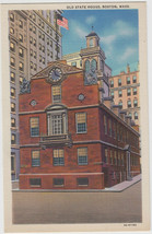 Old State House Boston MA Linen 1933 Curt Teich Postcard - $7.95