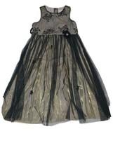 Girls Size 12 Perfectly Dress Gold Black Overlay Sleeveless Dress Flower... - $22.00