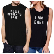 If Lost Return To Babe And I Am Babe Matching Couple Black Muscle Top image 1