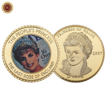 WR Princess Diana Commemorative Gold Coin England Royal Rose Thank You G... - $4.76