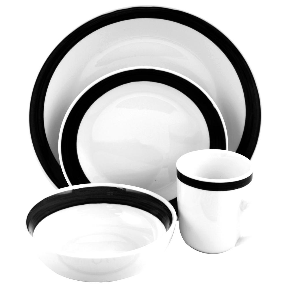 Gibson Basic Living III 16 Piece Stoneware Dinnerware Set in Black