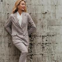 Women's  Double Breasted Plaid Blazer Pant Suit Set image 2
