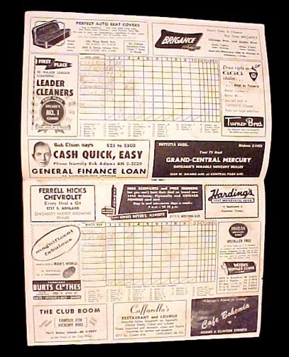 Chicago White Sox 1958 Program Scorecard New York Yankees MLB